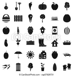Garden icons set simple style Garden icons set simple style of 36 garden icons for web isolated on white background