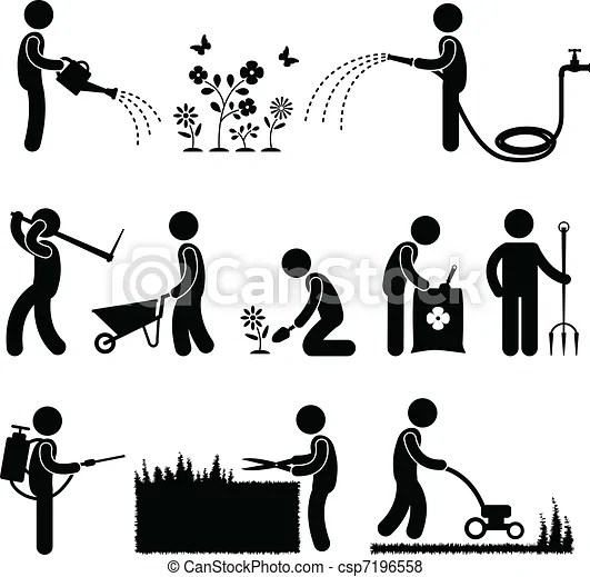 Gardening work worker gardener. A set of human figure and