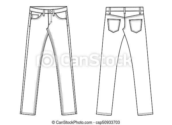 Garment sketch denim jeans pants. Garment sketch for