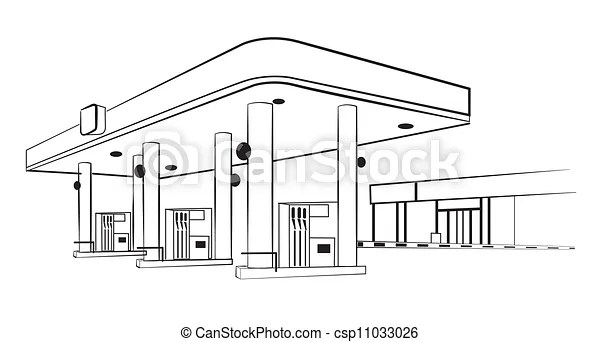 Gas station, isolated on white. vector illustration