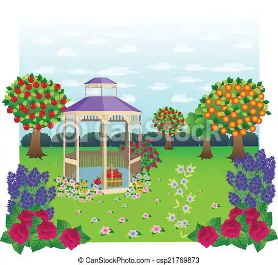 Gazebo garden Beautiful gazebo set in a garden scene