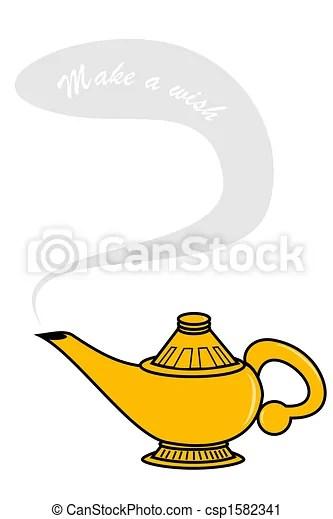 Genie Lamp Drawing : genie, drawing, Genie, Lamp., CanStock
