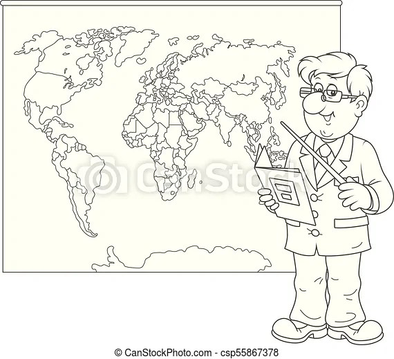 Geography teacher at lesson. Schoolteacher with a textbook