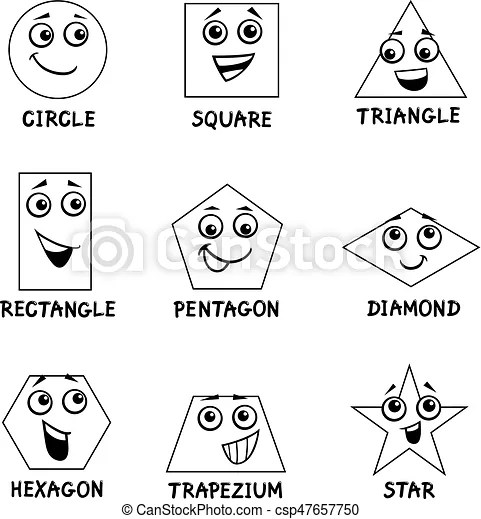 Geometric shapes coloring book. Black and white cartoon