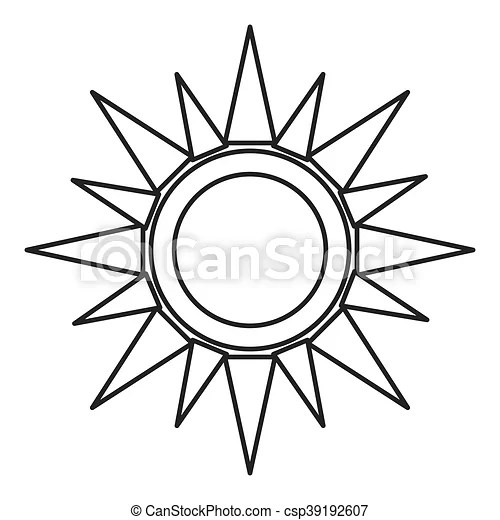 Flat design geometric sun representation icon vector