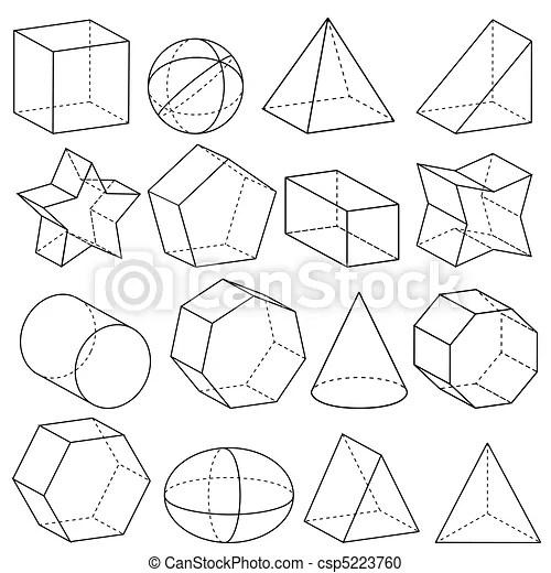 Geometry. Illustration of geometric figures in three