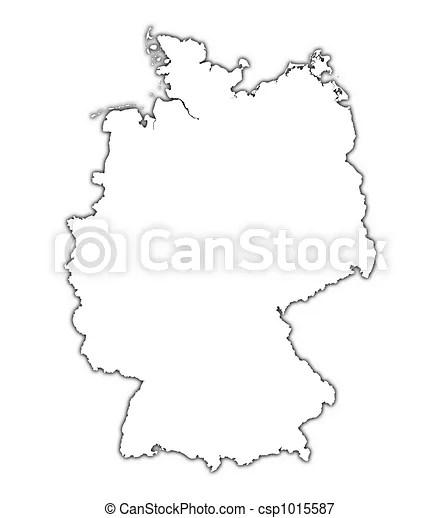 Germany outline map with shadow. detailed, mercator