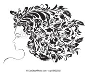 girl floral hairstyle. abstract