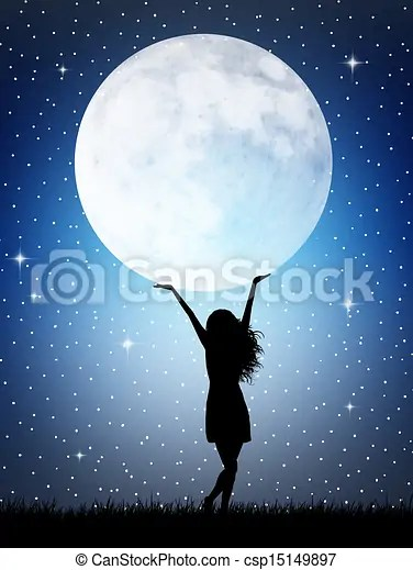 Girl Holds The Moon Silhouette Stock Illustration Search