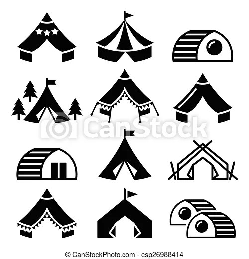 Glamping, luxurious camping tents. Vector icons of