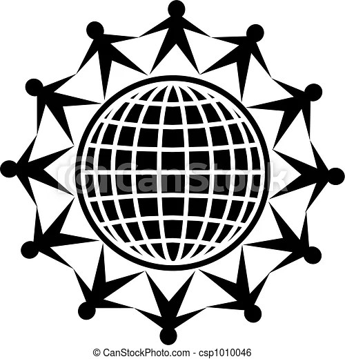 Global people. Black and white isolated icon of people
