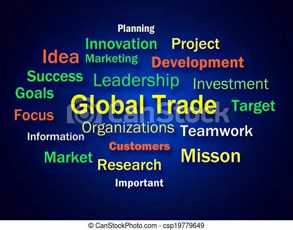 Global trade brainstorm meaning planning for international commerce.