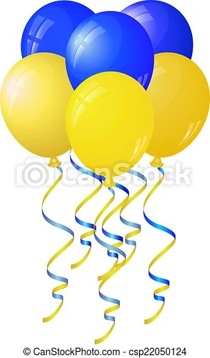glossy yellow and blue balloons