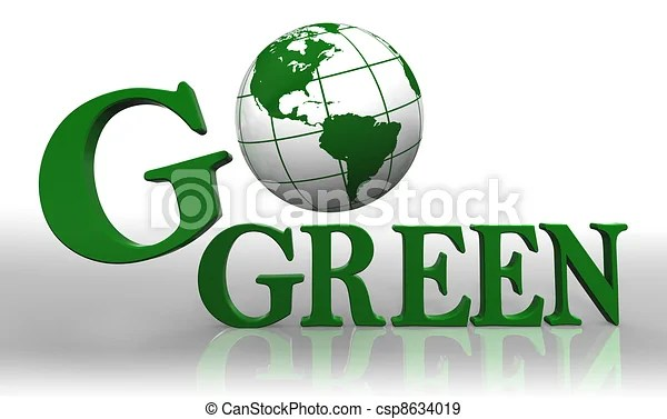 Go green logo word and earth globe.