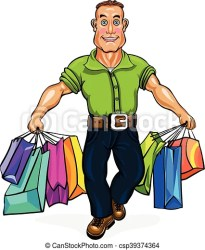 shopping go carrying bags vector clip illustration drawing graphics carries young clipart graphic line