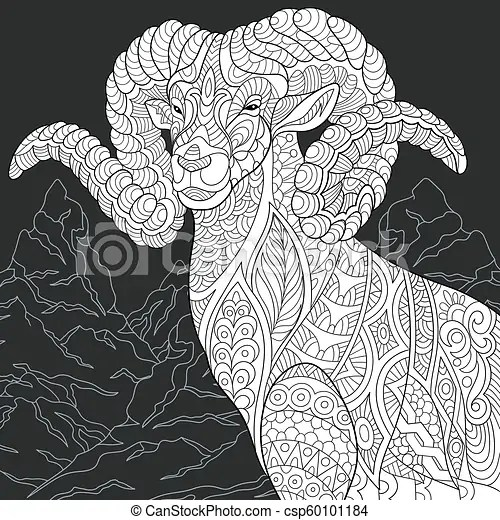 Goat Coloring Page Mountain Goat Line Art Coloring Book Page