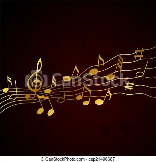gold music notes solide black