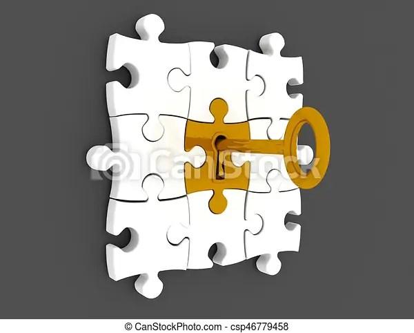 Golden key and puzzle pieces - 3d render illustration.