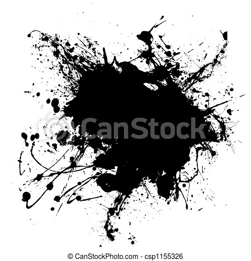 Gothic Splodge Abstract Black And White Ink Splodge That