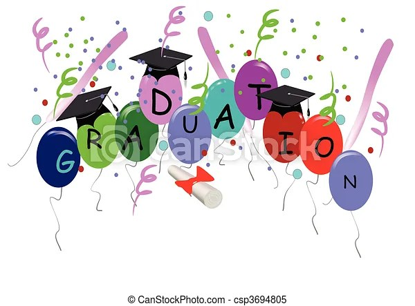 graduation with balloons white