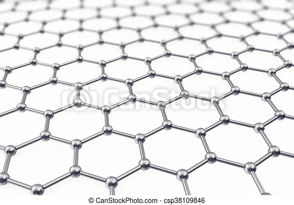 Graphene atomic structure, nanotechnology background. 3d