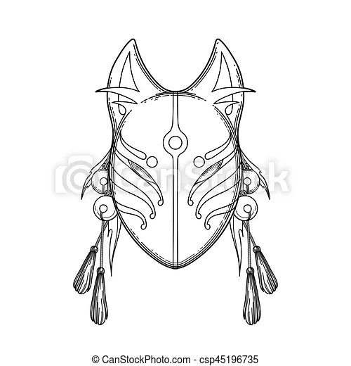 Graphic demon fox mask. Graphic mask of japanese demon