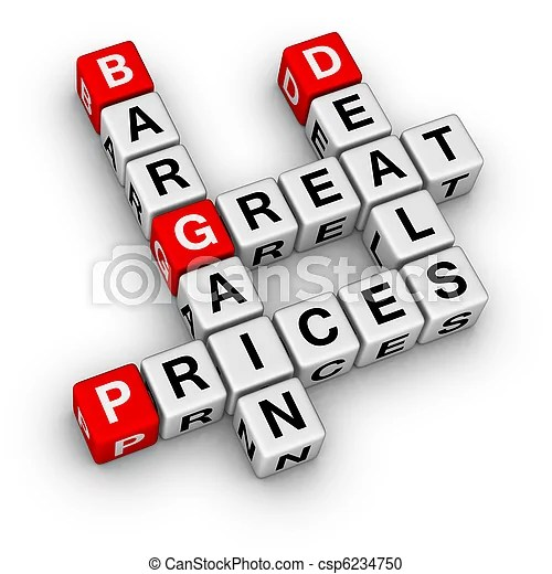 Great deals and bargain prices.