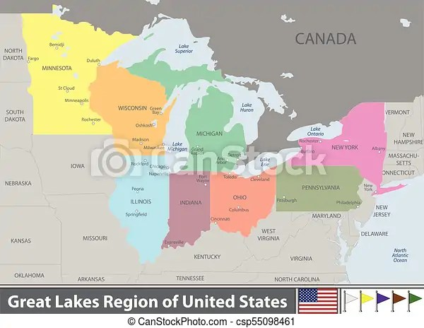 This map shows lakes, cities, towns, states, rivers, main roads and secondary roads in great lakes area. Great Lakes Region Of United States Vector Set Of Great Lakes Region Of United States With Neighboring States Canstock