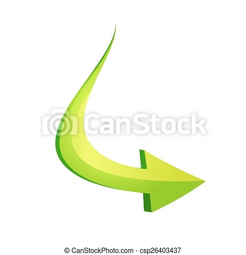 Green arrow in curve style. Vector illustration of a green arrow in 3d.