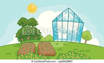 Green house garden illustration Illustration of a vegetable garden plots trees and a greenhouse under the sun CanStock