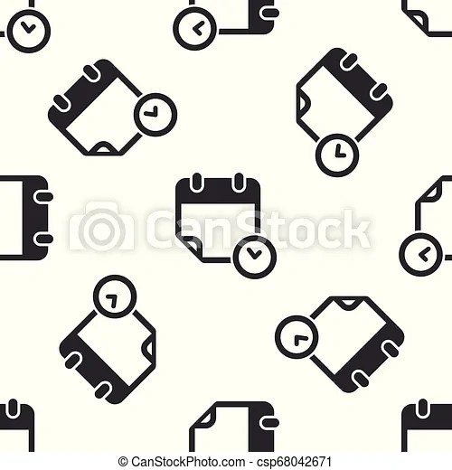 Grey calendar and clock icon isolated seamless pattern on