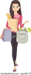 shopping grocery clipart vector clip carrying groceries bags drawings illustration drawing icon line graphic canstockphoto