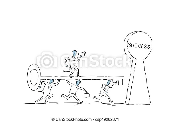 Group of business people putting key in success keyhole