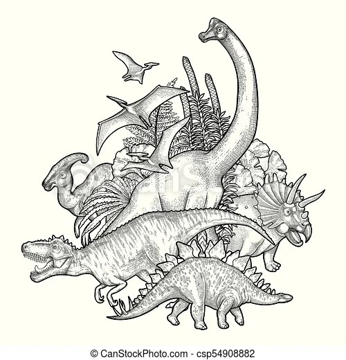 Group of graphic dinosaurs. Group of realistic graphic