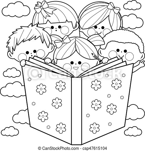 Group of kids reading a book coloring book page. Children