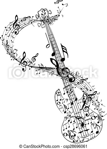 Guitar and music notes. Stylized silhouette of an abstract