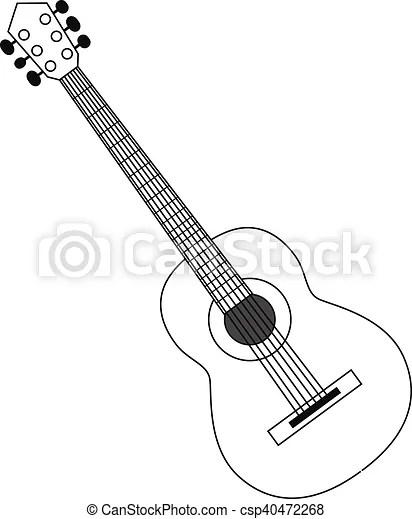 Guitar contour black white. Vector illustration circuit
