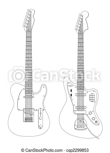 Guitars. Image of the guitars isolated on white.