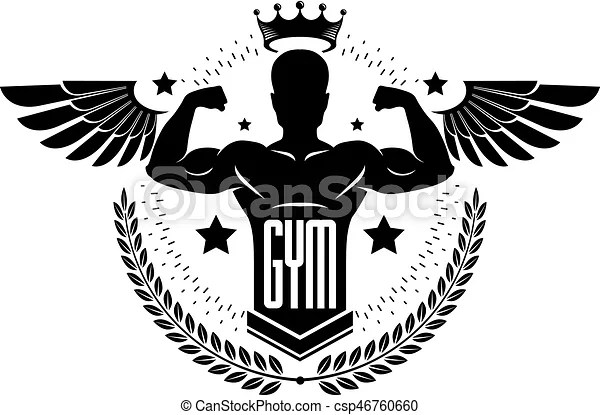 Gym and fitness logo template, retro stylized vector