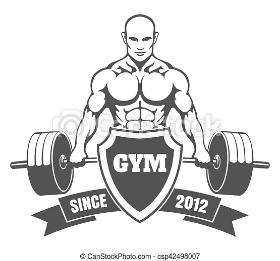 Gym emblem with training bodybuilder. Fitness or gym