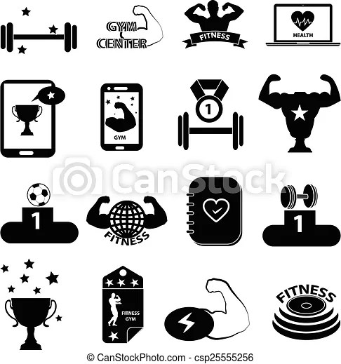 Gym Fitness Icons Set Gym Fitness Vector Icons Set In Black