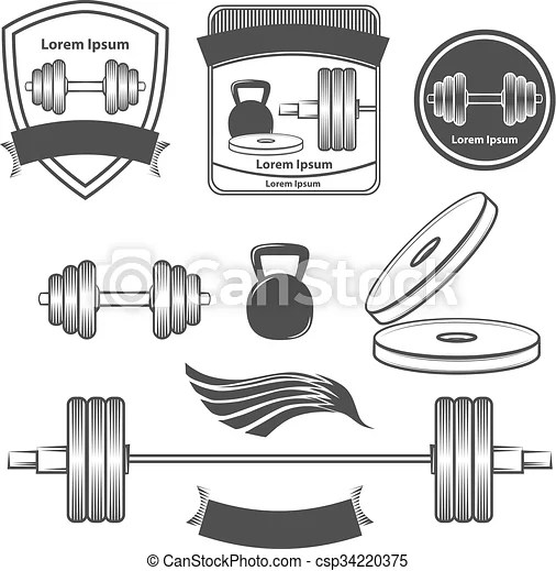 Gym logo sport fitness power. Set of gym equipment, quotes