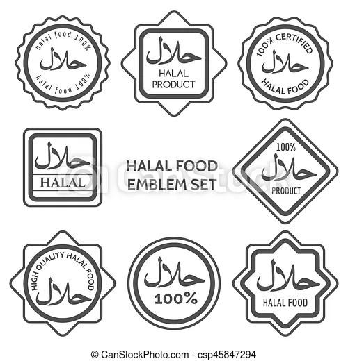 Halal food product labels. islamic kosher certified arabic