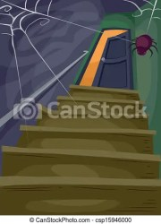 stairs attic halloween spooky cobwebs illustration leading flight cartoon clipart filled clip vector spider drawings drawing illustrations shutterstock line canstockphoto