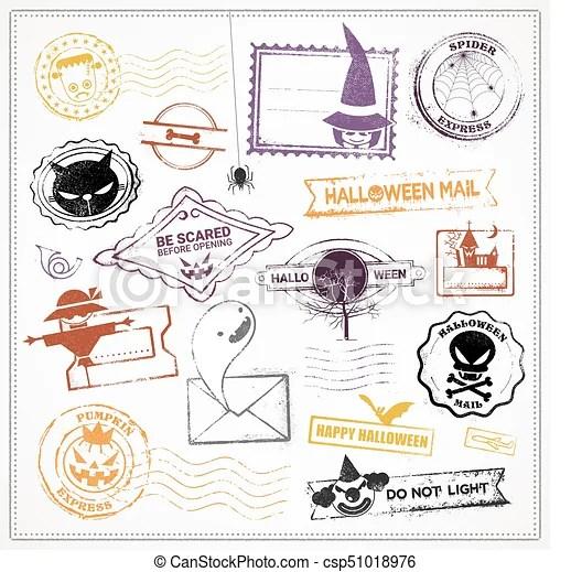 halloween vector grunge stamps