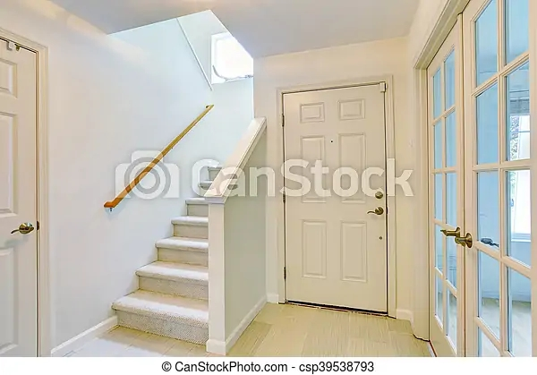 Hallway Interior In Light Tones With Hardwood Floor And Carpet   Carpet For Stairs And Hallway   Hardwood   Stylish   Upstairs   Popular   Hollywood Style