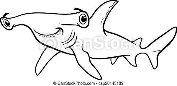 Hammerhead shark coloring book. Black and white cartoon
