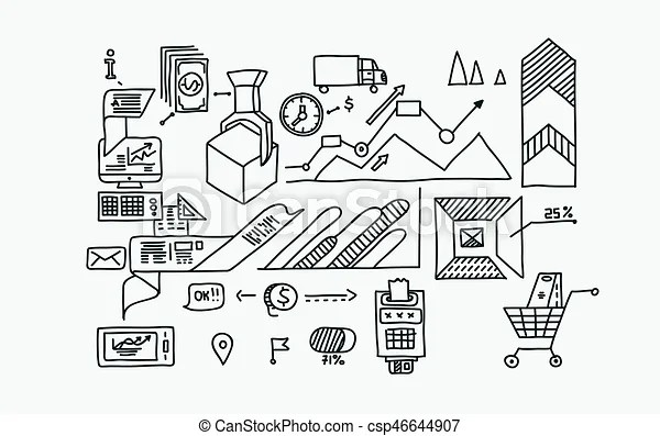 Hand draw doodle elements bank business finance analytics