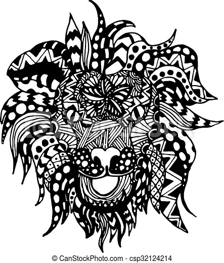 Hand draw lion head zentangle patterns painted in trendy