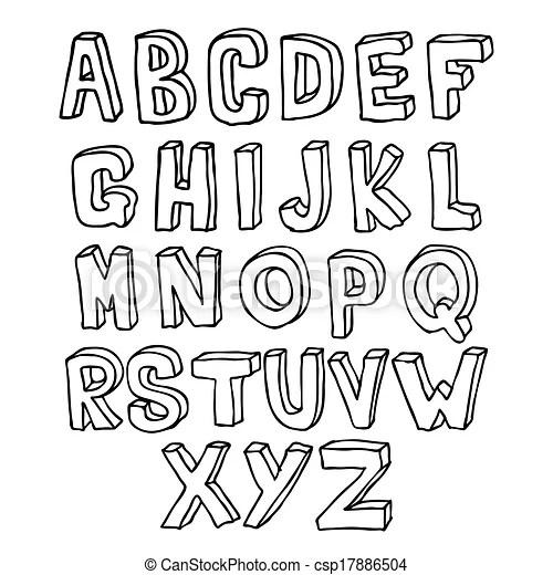 Hand drawn 3d alphabet. Hand drawn lettering 3d alphabet.